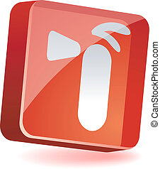 Extinguisher Icon. - Extinguisher 3d icon. Vector...