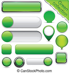 Green high-detailed modern buttons. - Blank green web...