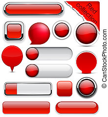 Red high-detailed modern buttons. - Blank red web buttons...