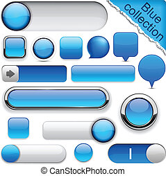 Blue high-detailed modern buttons. - Blank blue web buttons...