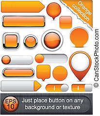 Orange high-detailed modern buttons - Blank orange web...
