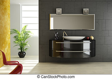 Modern bathroom view, with a red chair in the foreground and...
