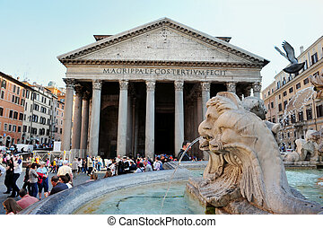 Pantheon in Rome, Italy - A crowd gather outside the famous...