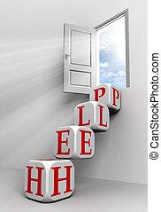 help conceptual door with sky
