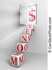 money conceptual door with sky