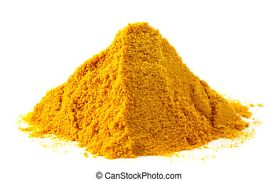 Pile of ground turmeric over white background