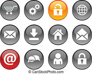 web icons. - web set of circle glossy icons.