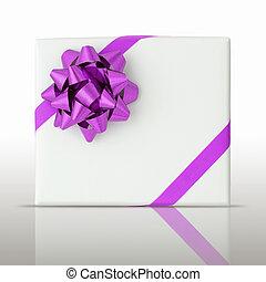 púrpura, estrella, oblicuo, línea, cinta, blanco, papel,...