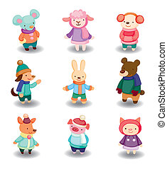 cartoon winter animal set