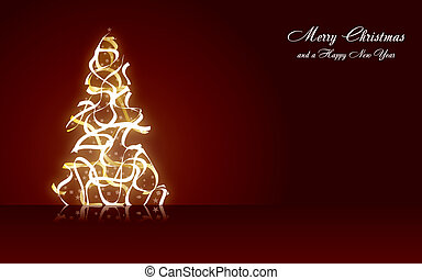 Christmas greetings card with fir tree, vector illustration eps 10.0