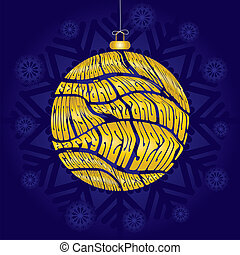 Christmas card with bauble made from greetings in different languages on blue snowflaked background, vector illustration