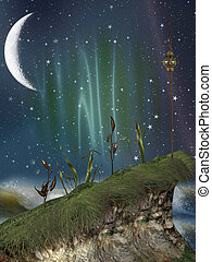fantasy landscape in the nigth - fantasy landscape with...