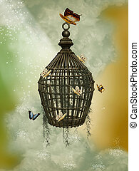 Cage - Fantasy cage with butterflies in the sky