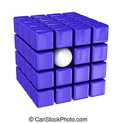 White ball  - White ball among violet cubes