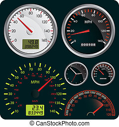 Speedometers - Vector Illustration of Dashboard Dial