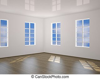 Interior of a room with four windows