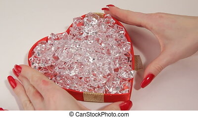Heart and diamond HD - Women take the gift box with diamonds...