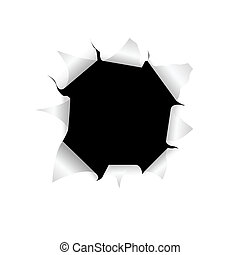 Hole in a paper - The black torn hole in a white paper