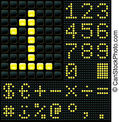 Digits and Symbols - dot matrix display with digits and...