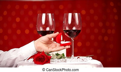 Romantic dinner at the restaurant - Man with his girlfriend...