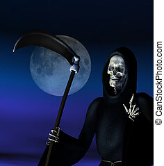 Grim Reaper in Moonlight - Grim Reaper - 3D render