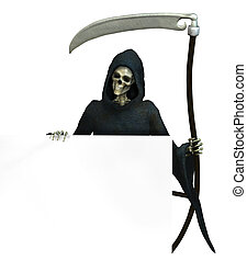 Grim Reaper with Sign Edge - Grim Reaper holding onto the...
