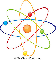 atom vector - colorful atom isolated over white background...