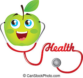 apple and stethoscope - gree apple and red stethoscope...