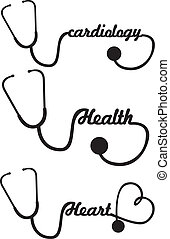 stethoscope - black silhouette stethoscope isolated vector...