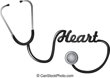 stethoscope - black stethoscope with heart text vector...