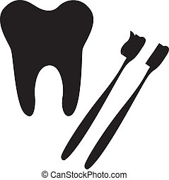 tooth and toothbrush silhouette isolated vector illustration