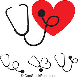 stethoscope silhouette - black silhouette stethoscope with...