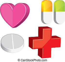 3d medical elements isolated over white background vector...