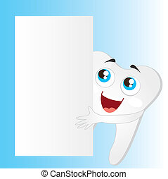 tooth vector - tooth cartoon with blank advertising vector...