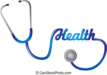 stethoscope - blue stethoscope with health text isolated...