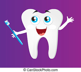 tooth with toothbrush cartoon
