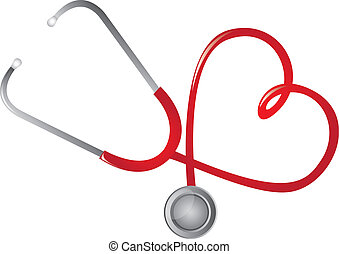 red stethoscope heart-shaped isolated vector illustration