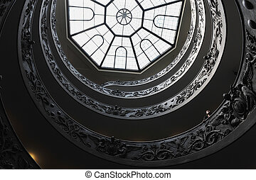 Spiral staircase of the Vatican Museum in Rome, Italy -...