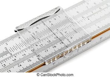 Slide rule - Close-up of slide rule isolated on white
