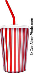 paper fast food cup with tubeVector