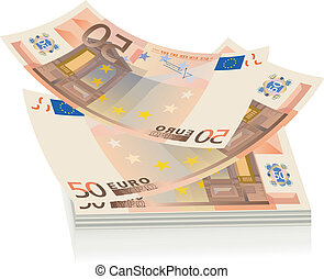 Flying euro bills, the concept of s