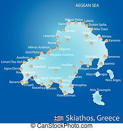 Island of Skiathos in Greece map on blue background