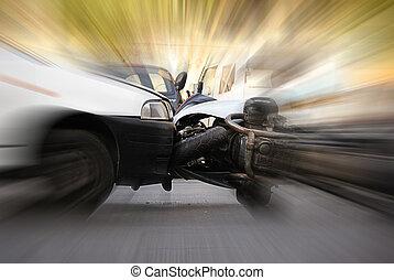 detalle, accidente, entre, coche, motocicleta