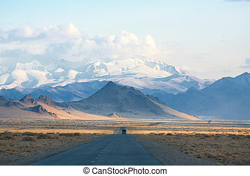 road in the mountains of Mongolia. one of the few asphalt...