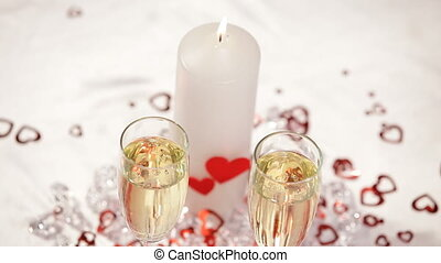 Luxurious table HD - The happy couple is drinking champagne...