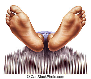 bed of nails with fakir viewed from feet