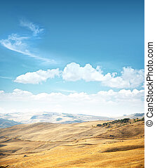 Yellow landscape on a sky background