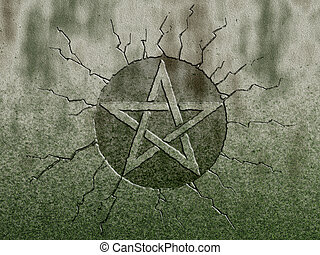 pentagram symbol on stone background