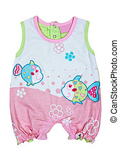 baby romper with fish motif on a white background