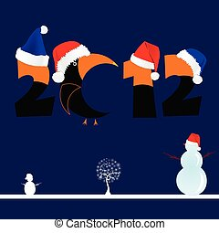 illustration of 2012 with tree and snowman